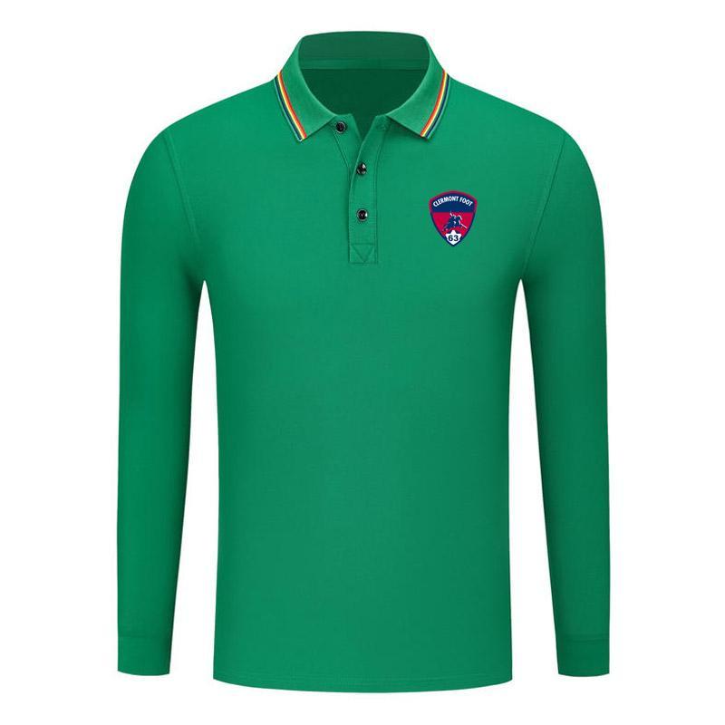 clermont Baumwolle Langarm-Shirt Männer Revers Polo Fußball Männer Polohemd Training Jersey Herren Polos slim Polohemd