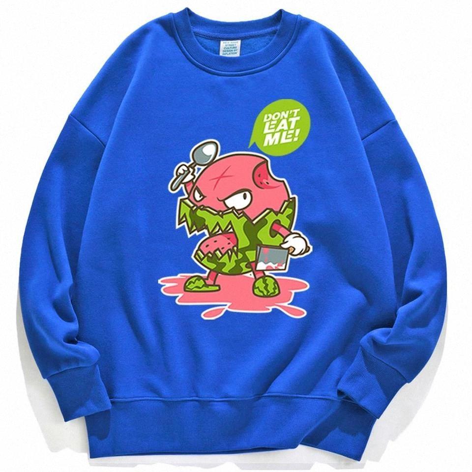 ETA Me Warmelon-Druck-weibliche Kleidung Harajuku Verlorene Mode Fleece Sweatshirts Herbst Fleece Fitness Womens Hoody # 0x34