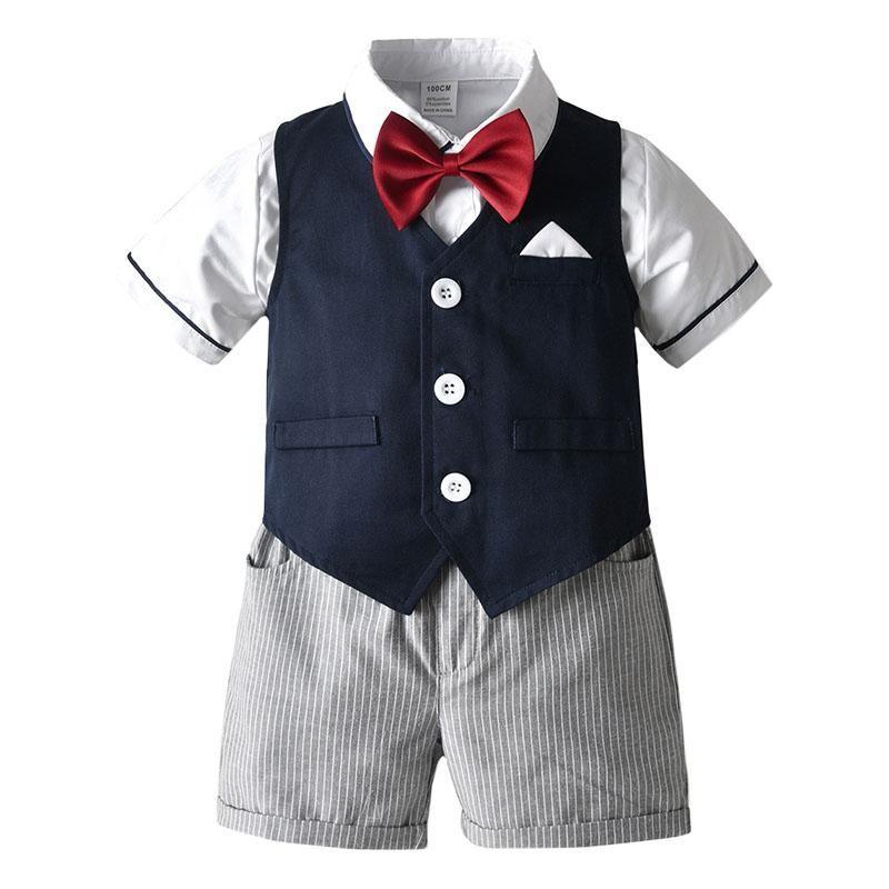 Baby Boys Gentleman Clothes Bow Tie Shirt Vest Shorts 3Pcs Sets Kids Wedding Birthday Clothing Suit Boys Summer Leisure Suit