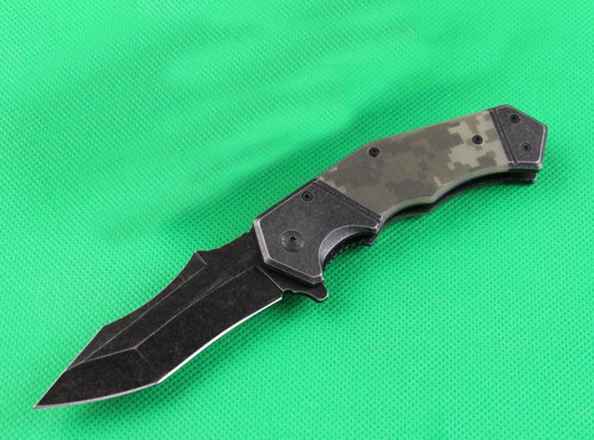 Najwyższa jakość 352 Wspomagany Szybki otwarty Flipper Składany nóż 440C Titanium Powlekane / Waszyjne Tanto Tanto Blade Steel + G10 Uchwyt z polem detalicznym