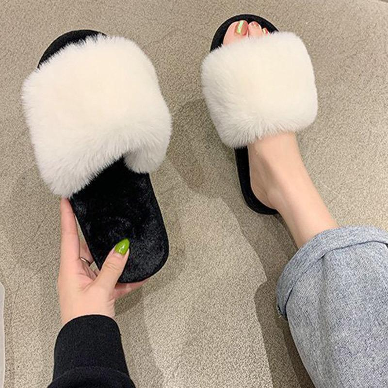 Women Slippers Woman Plush Soft Faux Fur Female Slippers Candy Colored Ladies Flat Shoes Home New Warm Winter F1224