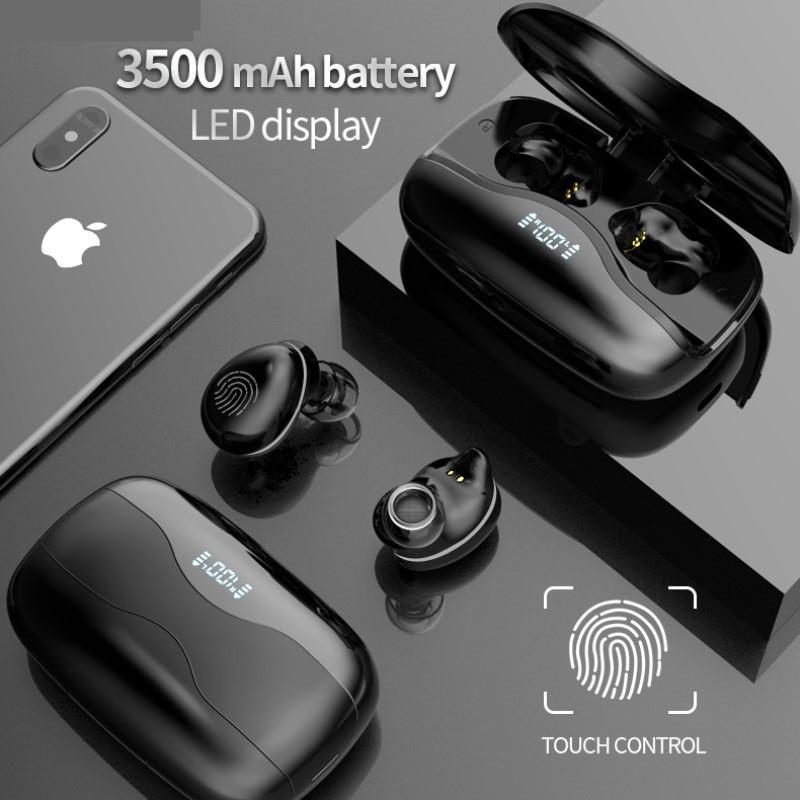 Novo 3500mAh LED Display Bluetooth Fones de ouvido sem fio com microfone 9D HiFi Sound Sound Headset Earbuds