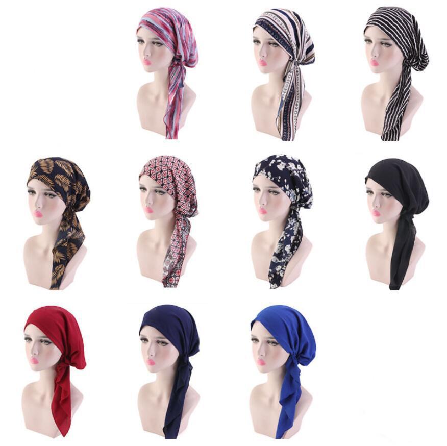 Müslüman Kadınlar Baskılı hicap Şapkalar Turban Kafa Kafa Eşarp Kemo Kanser Cap Saç Dökülmesine Şapka Uzun Kuyruk Bow Bonnet Geniş Bant Wrap Cap 10 Renkler