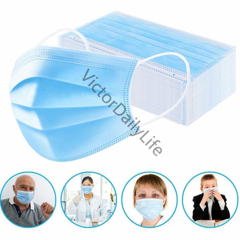 Masque jetable masque de sécurité masque de sécurité (paquet de 50) masque facial respirant à 3 couches d'épaisseur non tissé avec ajustable Earboop Anti Goutlets