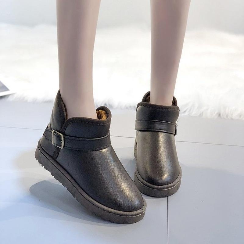 Botas de nieve para mujeres botines de moda nuevo invierno tobillo bota negro más tamaño damas plataforma zapato mujer algodón zapatos botines mujer