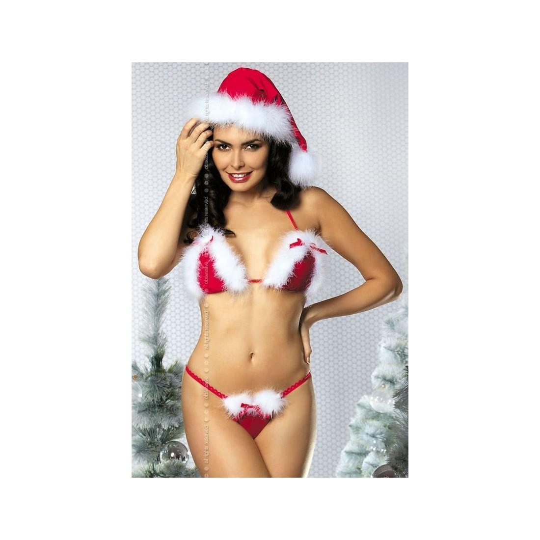 biquíni três pontos underwear mulheres sexy com Branco fuzzy vestido guarnição de Natal do feriado do Natal
