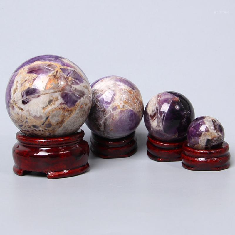 حقيقي الأصلي جمشت المجال الكرة الريكي اليدوية ديكور المنزل حجر يد مدلك الأرجواني الجمشات الجدول الحلي الديكور 1