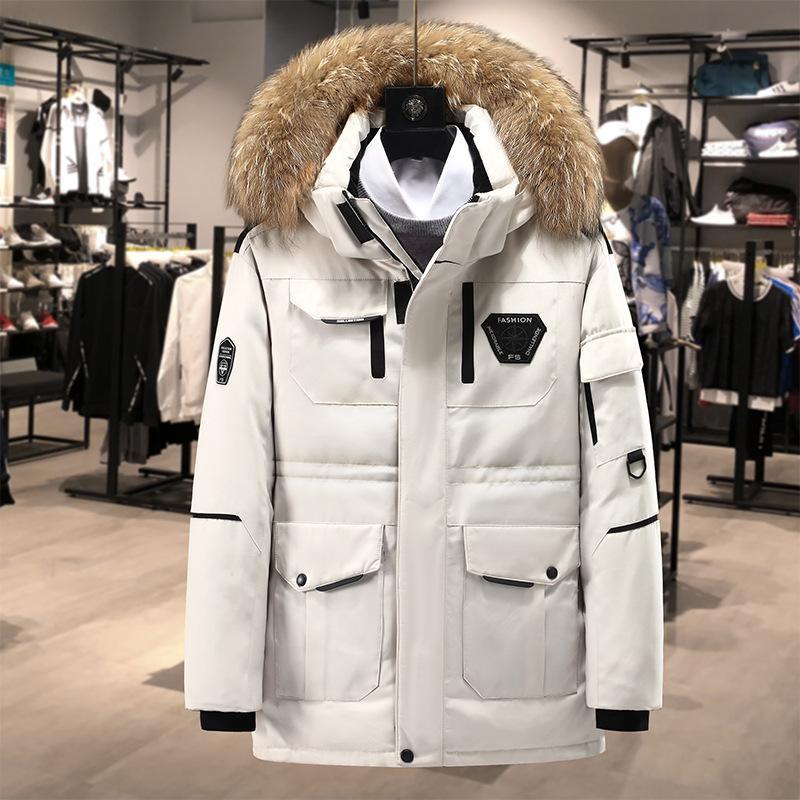 Yeni Kış Parka Coat Erkekler Aşağı Ceket Giyim Kürk Yaka Kapşonlu Kalınlaşmak Sıcak İş Siyah Beyaz Palto Giyim Dış Giyim BOYUT S-3XL