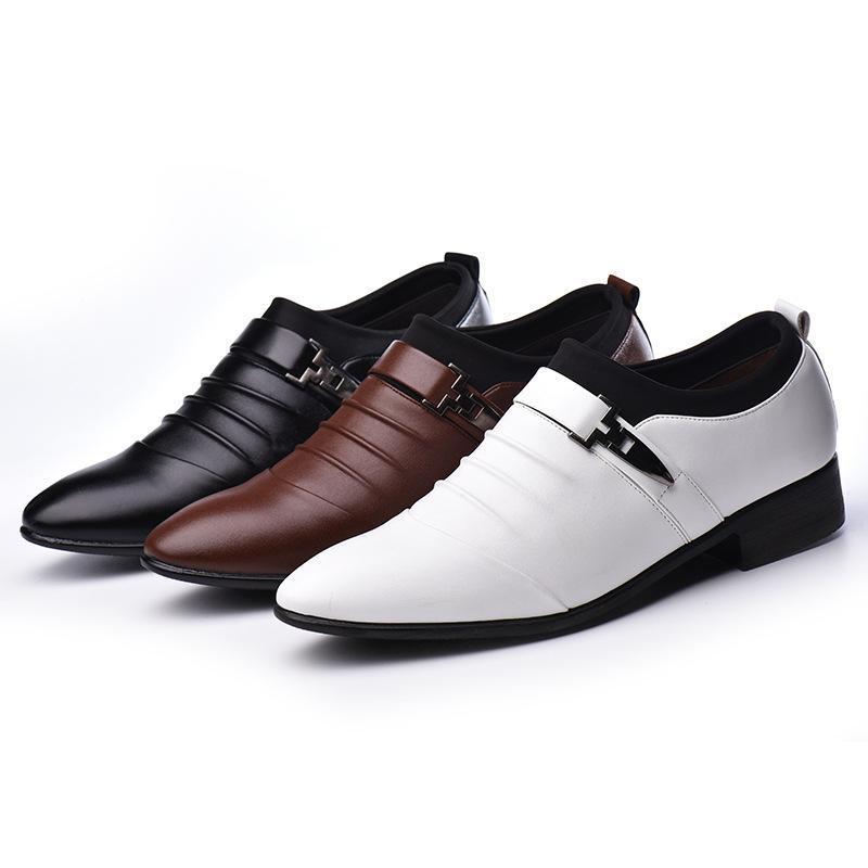 2020 britânicos dos homens terno de negócio sapatos calçados masculinos bonito Oxford branco pontas sociais
