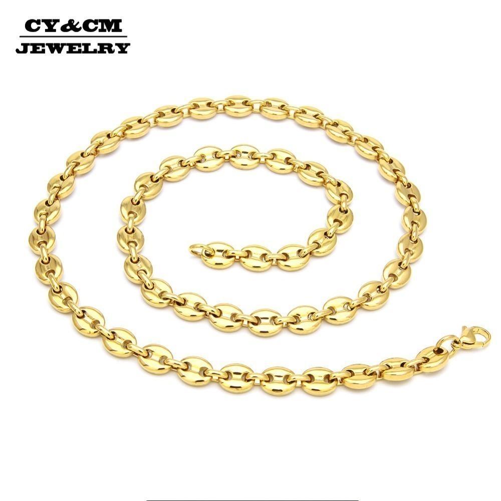 Bling Edelstahl Punk Hip Hop Puffed Mariner-Verbindungs-Kabel-Kette Halskette für Frauen-Mann Gold Silber Schmuck Halskette Y19050802
