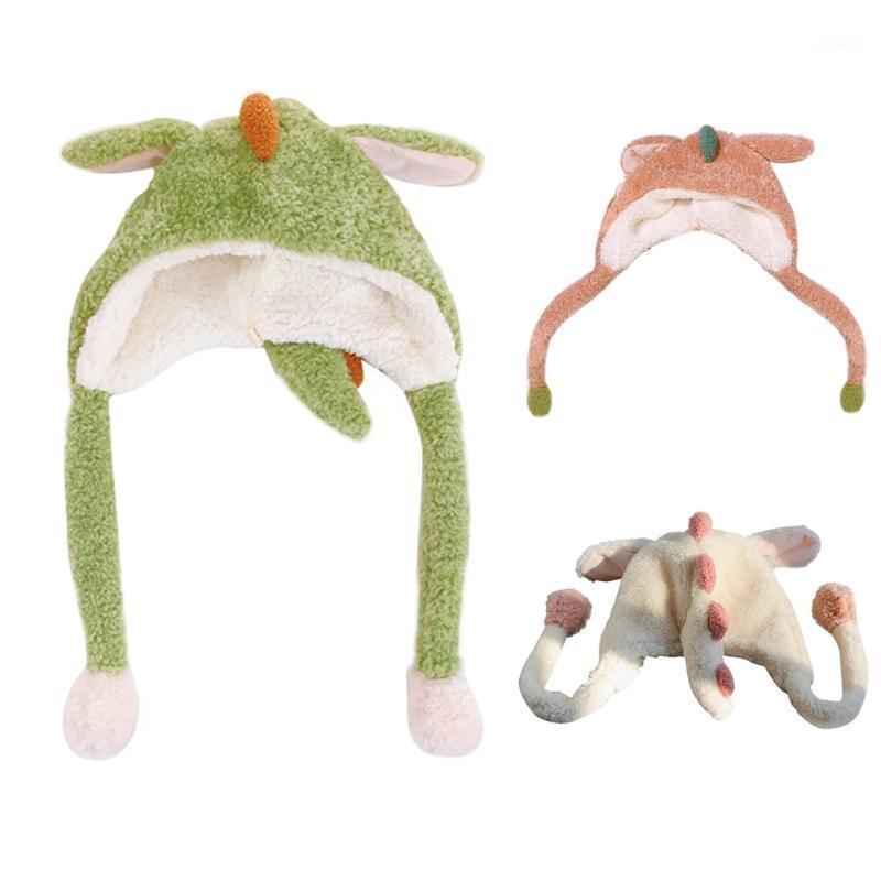 Inverno lanuginoso peluche cappellino cappello sciarpa cappello salto orecchie cartone animato dinosauro auricolare tappo 6xda1