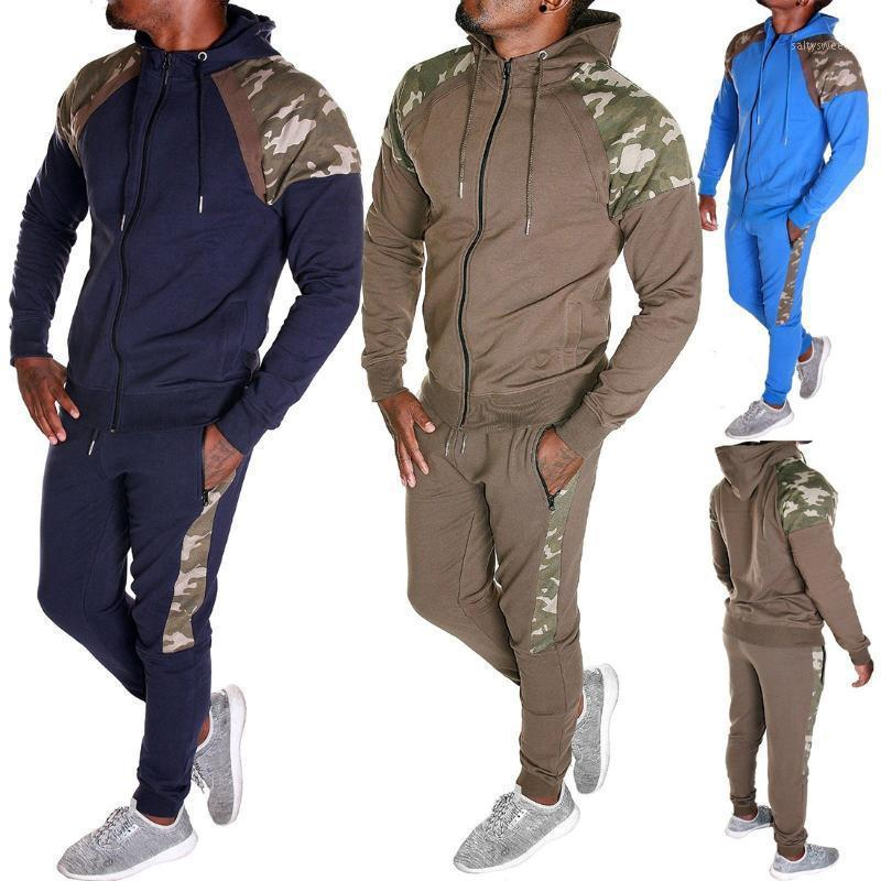 Tracksuits pour hommes Mjartoria Hommes Tracksuit Ensemble Camo Patchwork Sweat Support Homme Sports Sweat Sweatpants 2 pièces Jogger Outfit1