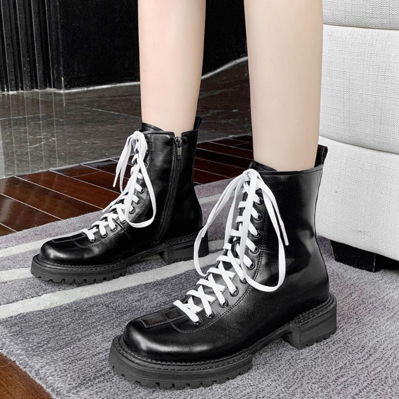 Çizmeler Sarairis Fermuar Dikiş Kadın Sonbahar Bayanlar Ins Moda Tasarım Marka Ayakkabı Dantel Tıknaz Ayak Bileği Shoes1