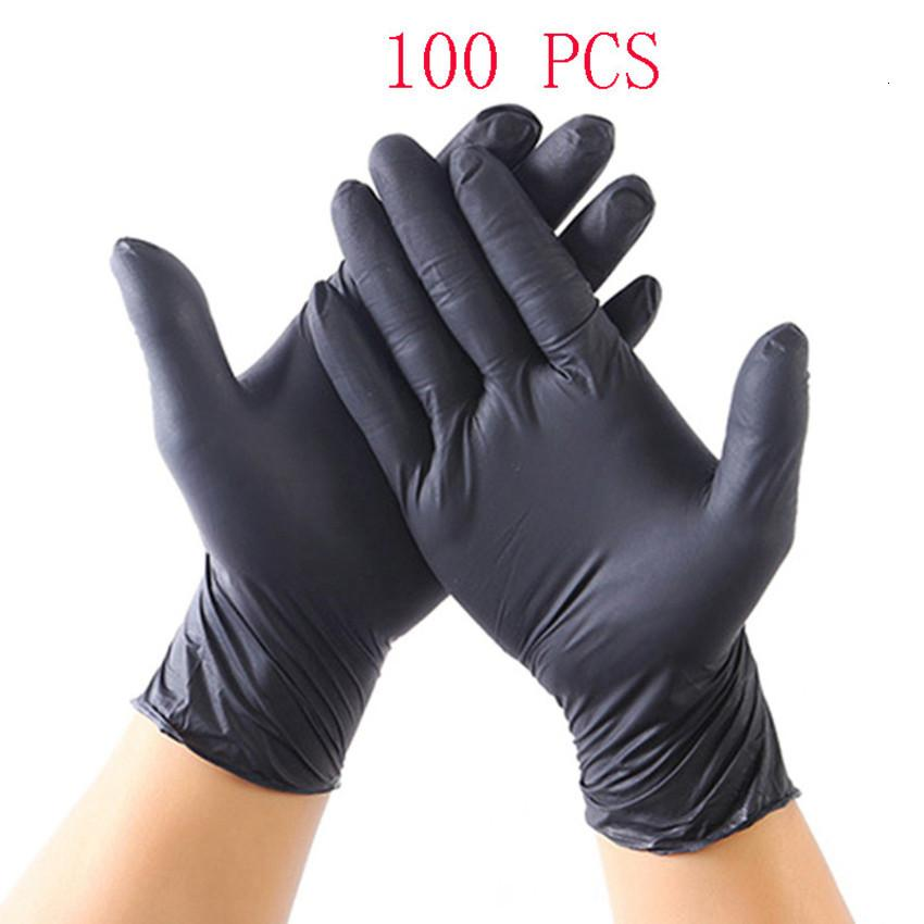 100 шт. Все сезоны одноразовые нитриловые перчатки Gantes Латекс черный синий нескользящий кислота и щелочная лабораторная каучука бытовая U8CE