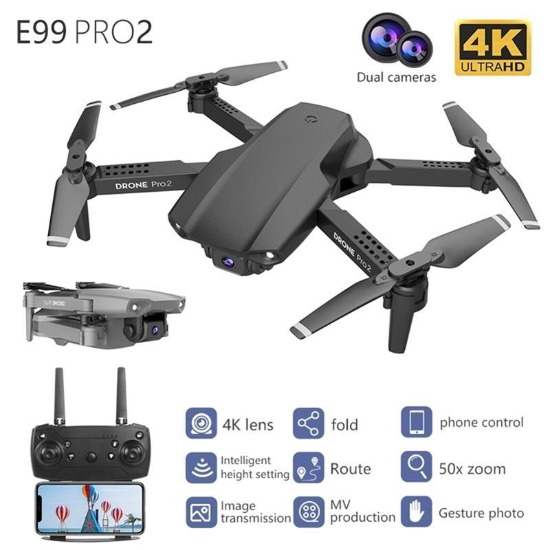 E99 pro2 rc mini drohne 4k hd duale kamera wifi fpv professionelle näher fotografie hubschrauber faltbare quadkopter dron spielzeug 201221