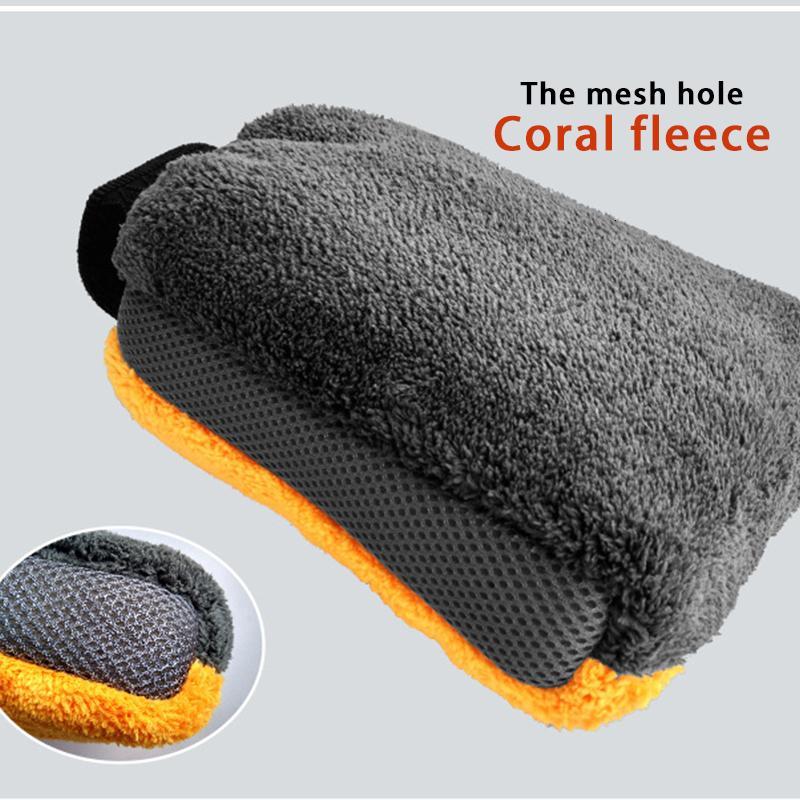 New 1pc Limpeza tecido de malha Car Wash Glove Do pintura não ferir Waterproof Double-sided Coral velo