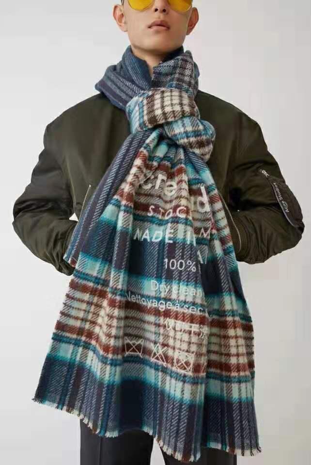 Color de alta calidad de la tela escocesa de acné invierno 2020classic invierno bufanda gruesa imitación de cachemir versátil cuello caliente estudiante espesó chai caliente