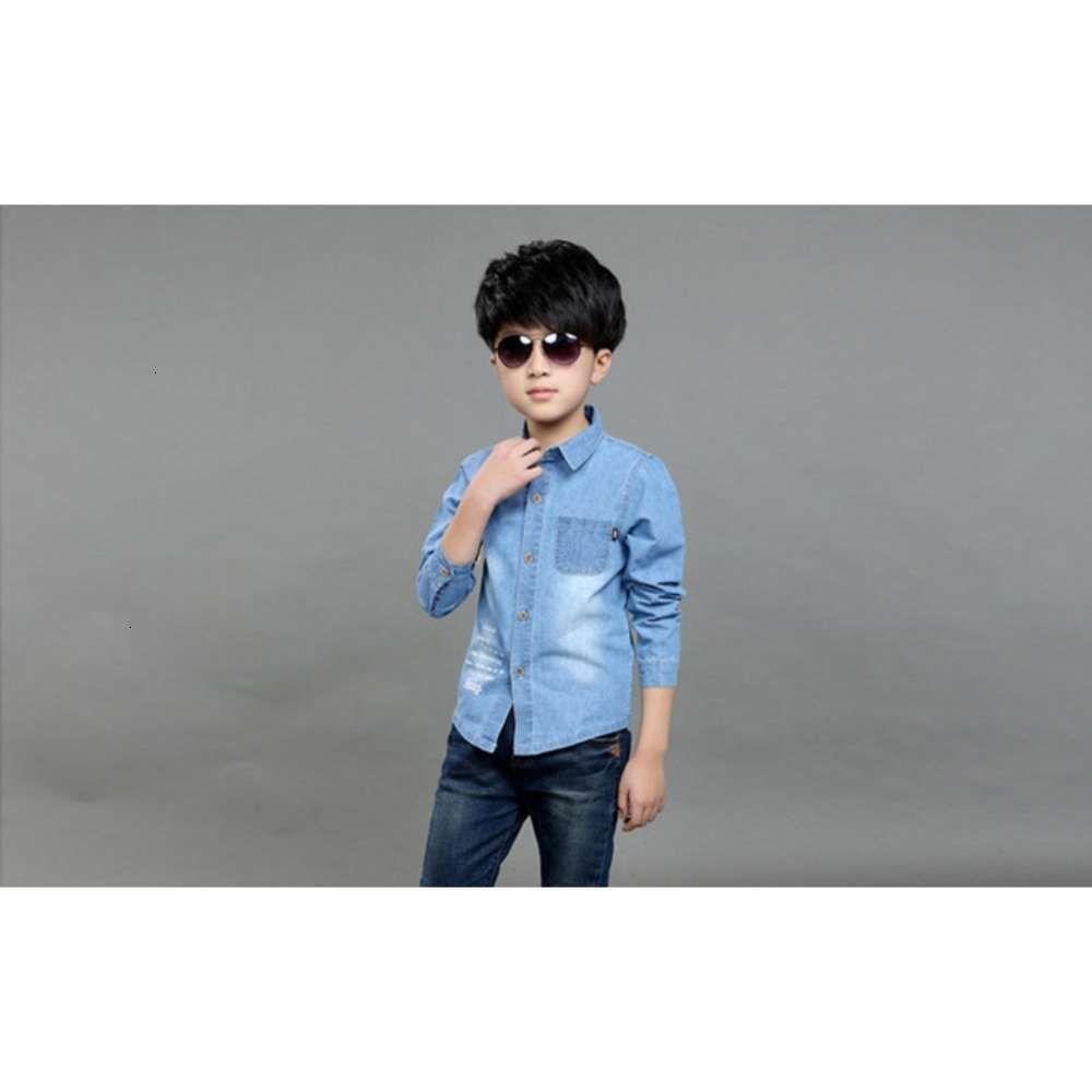 Kids Litksbay's Long Svve Spring Denim Coréen Inch Shirt Zhongda Enfants Slim Top