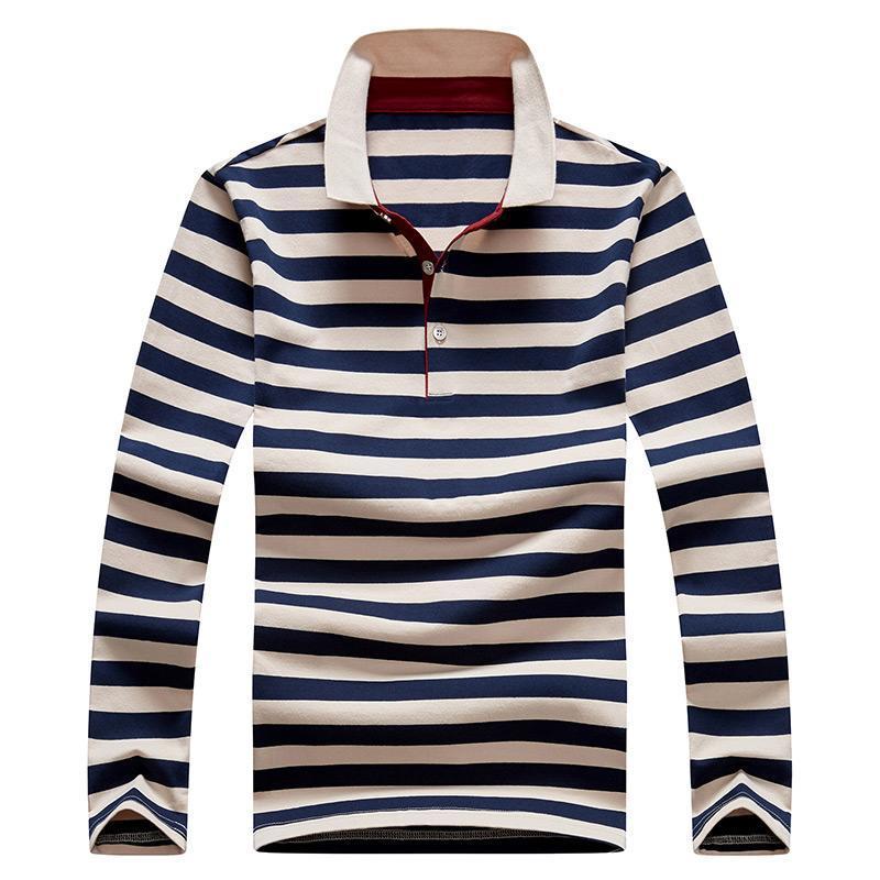 Autunno Slim Fit piena lunga T-shirt manica vendita calda casuali Girano-giù il collare cotone T-shirt da uomo Golf Polo Shirt M-4XL