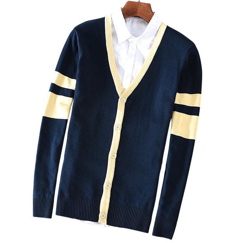 Suehaiwe's Brand Autunno e Inverno Uomo con scollo a V Cardigan Cardigan Maglione in cotone a strisce Maglioni caldi Uomo Casual Italy Style Chandail