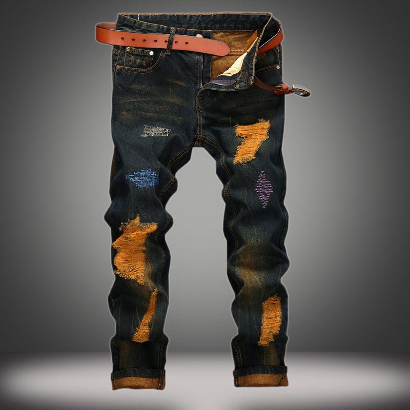 Denim Designer jeans del foro di alta qualità strappato a Formato degli uomini 28-38 40 2020 autunno inverno più velluto HIP HOP Punk Streetwear 0YZK