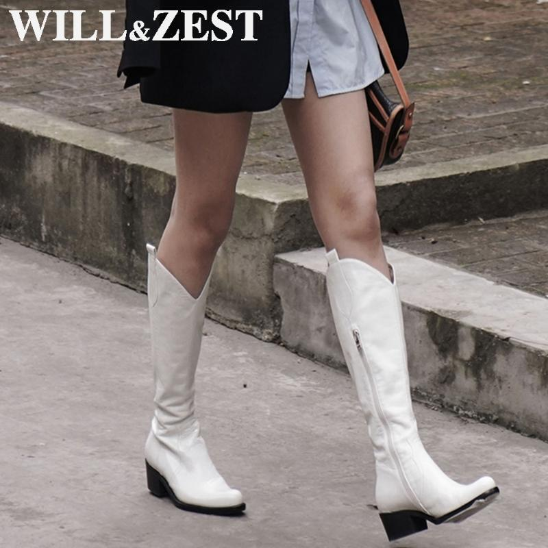 WillZest Knee Boots High Cuero Invierno Black Western Gothic Heels High Motorcycle Long Boot Fur Punk Shoes 2021 Moda Mujeres