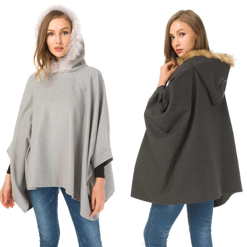 Негабаритная осень и зимняя женская одежда для одежды имитация накидка на мыс жир мм большой шерстяной воротник твидовый пальто