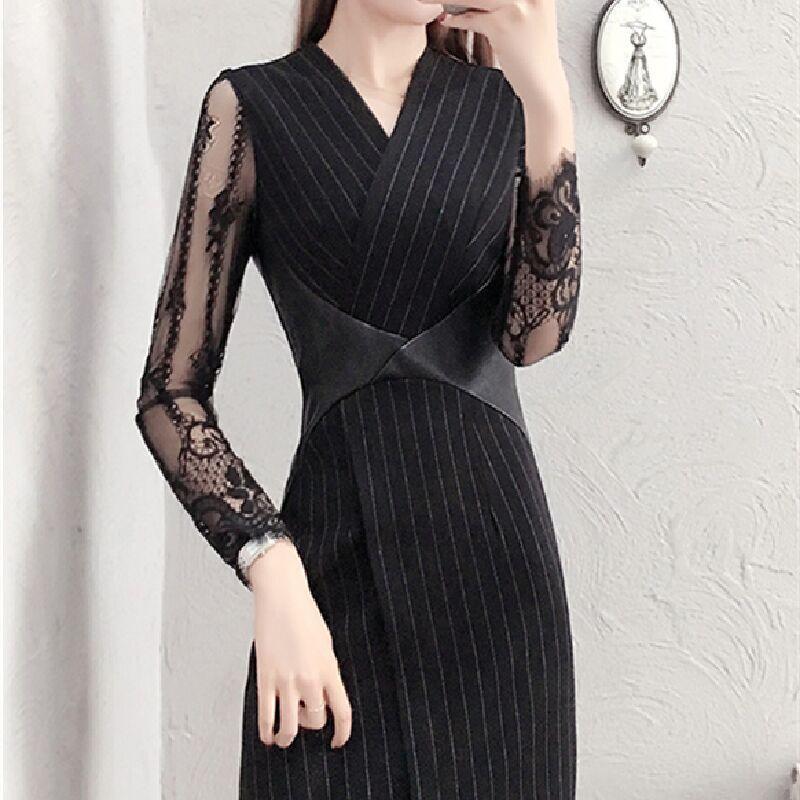2020 весной и летом платье нового кружева сексуальное лоскутное платье тонкий тонкий тонкий вариант Корея открытых бедрами профессиональной юбка