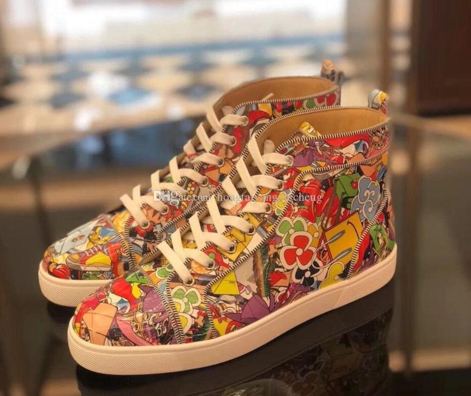 NUOVO [Original-Box] Bottom Uomo rosso Donne Moda Spikes Sneakers High-Top Super Loubi Stampa Graffiti in pelle Casual, jogging camminando calda vendita