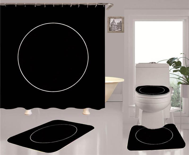 Trend Prince Douche Rideaux Ensembles Quatre-Pièces Doit convenir à la salle de bain Anti-Peeping Désodorant Désodorant Toilettes Tapis de toilette Mer Ship Yyb4870