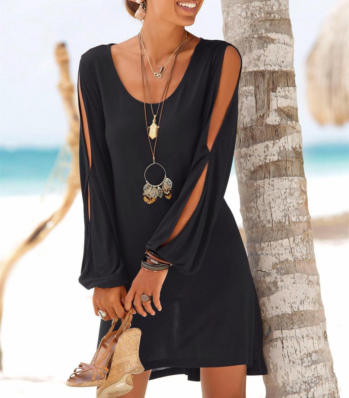 Пять цветных черных повседневных пляжных платьев женщины о-шеи полые рукава прямые твердые мини-платье летняя одежда для женщин 2019 T200319