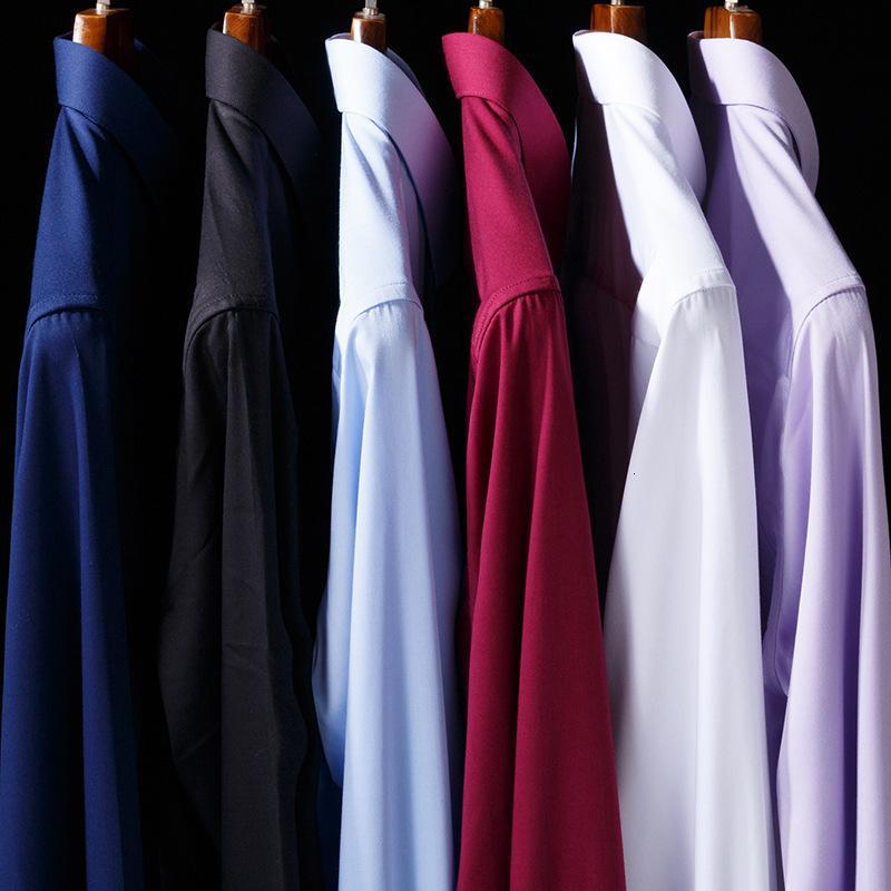 Мужская рубашка 2020 весна новая мода роскошный бизнес сплошной цвет эластичный тонкий мужской рубашка с длинным рукавом