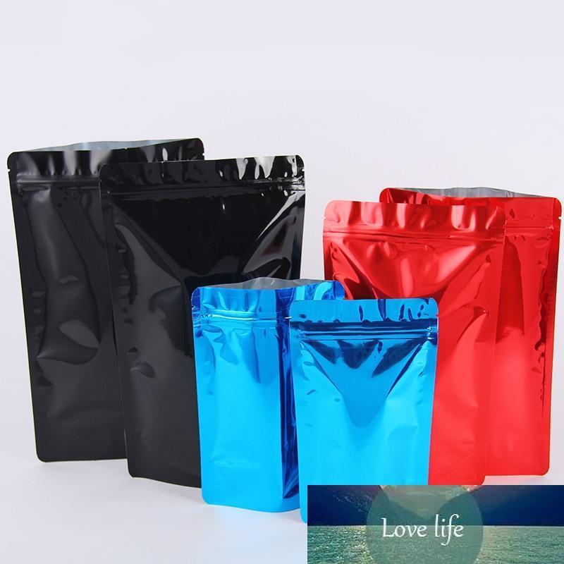 une feuille multi-tailles aluminium pelliculage brillant coloré debout sac d'emballage de thé de café en plastique poche de support d'emballage alimentaire refermable
