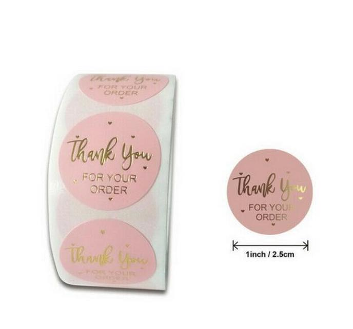 Pink Colors 500pcs/roll 10 Styles Flowers Heart Thank You Adhesive Sticker Scrapbooking Handmade Business Packagin bbyerC ladyshome