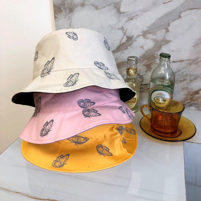 Широкие шляпы Breim Hats Женщины Бабочка Двухсторонняя Вышивка Осень Зимнее Ведро Шляпы Складной Sun Cap Cap Hip Hop Рыбалка Открытый подарок1