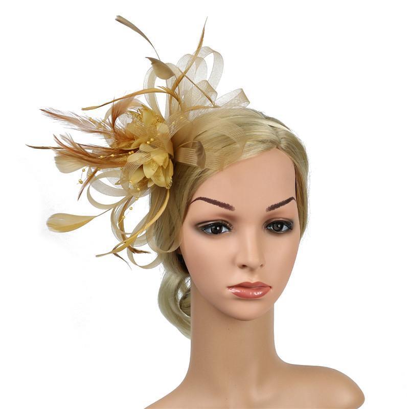 Copricapo di piume donne Fascinators clip giorno delle donne corse Festa di nozze tiara nuziale