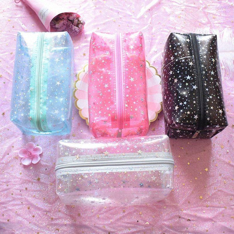 Mulheres PVC Pequenas maquiagem sacos de viagem criativa transparente Cosmetic Bag Wash Bolsa Beleza armazenamento caso de Higiene Pessoal Bag Limpar Pink Star QbRb #