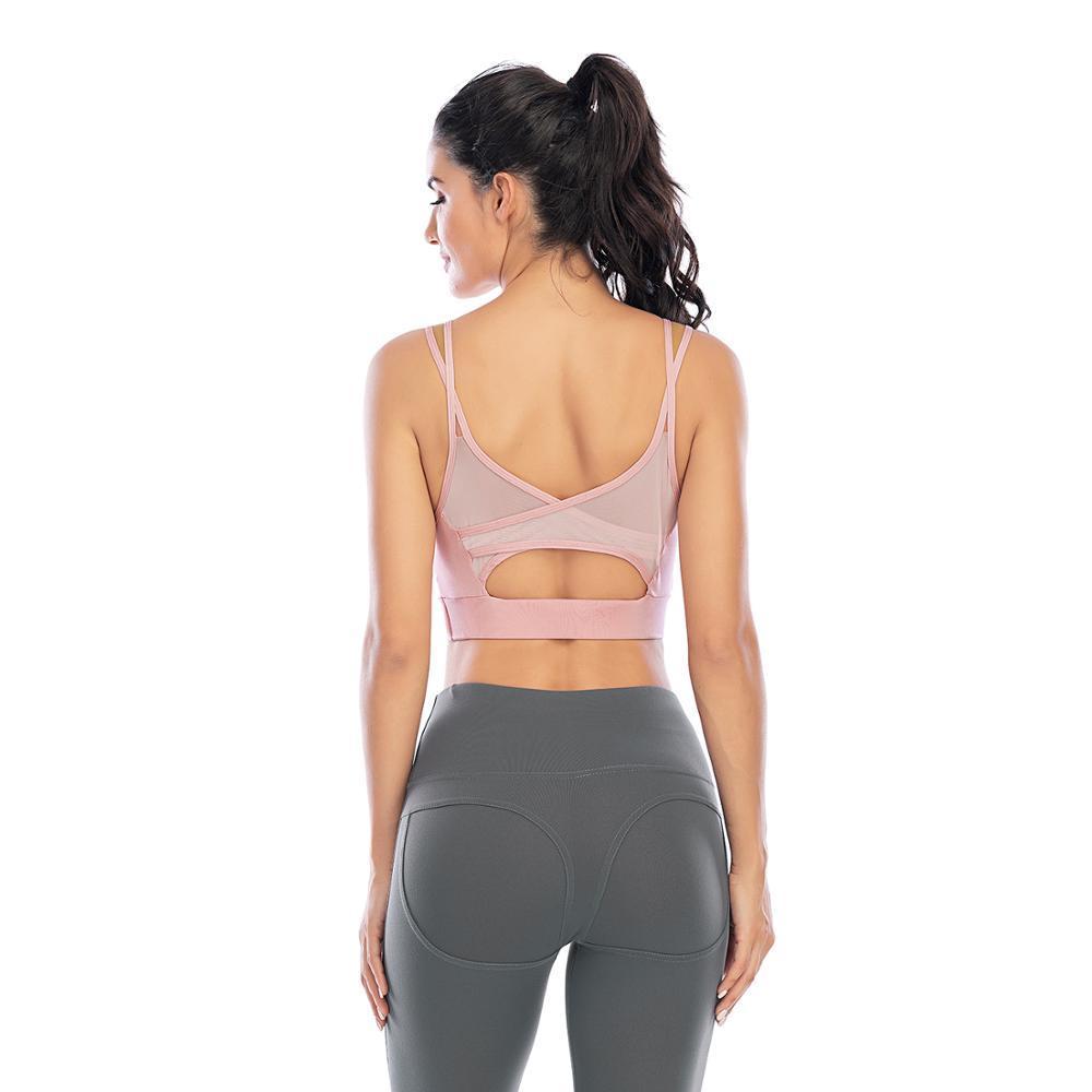 Croce indietro scava fuori Reggiseno imbottito Sport spinge verso l'alto filato sexy delle donne che impiomba netto di yoga del reggiseno Top per fitness Abbigliamento sportivo per le donne di ginnastica