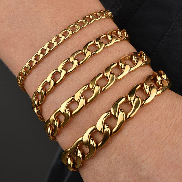 BS4001 High Quality Black Gold Silver Stainless Steel Chain Mens Bracelets Homme Hip Hop Bracelet Men Christmas gift