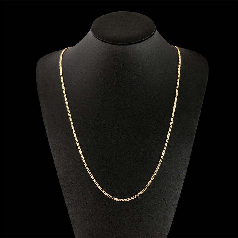 Collar de cadena plana de 2 mm para mujeres Hombres Hip Hop 18K Joyería chapada en oro Colgante Joyería de Navidad Accesorios 16/18 / 20/22 / 24 pulgadas 81 O2