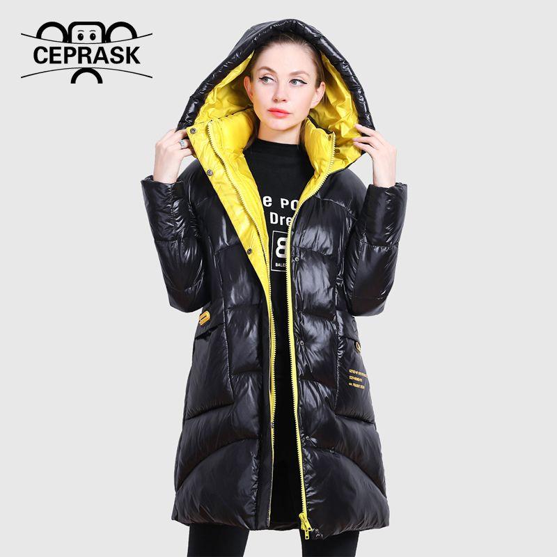 CEPRASK Новая зимняя куртка женщин высокого качества Яркие цвета одежды бренда воротник пальто с капюшоном утепленная Сыпучие Cut Plus Outwear 201106