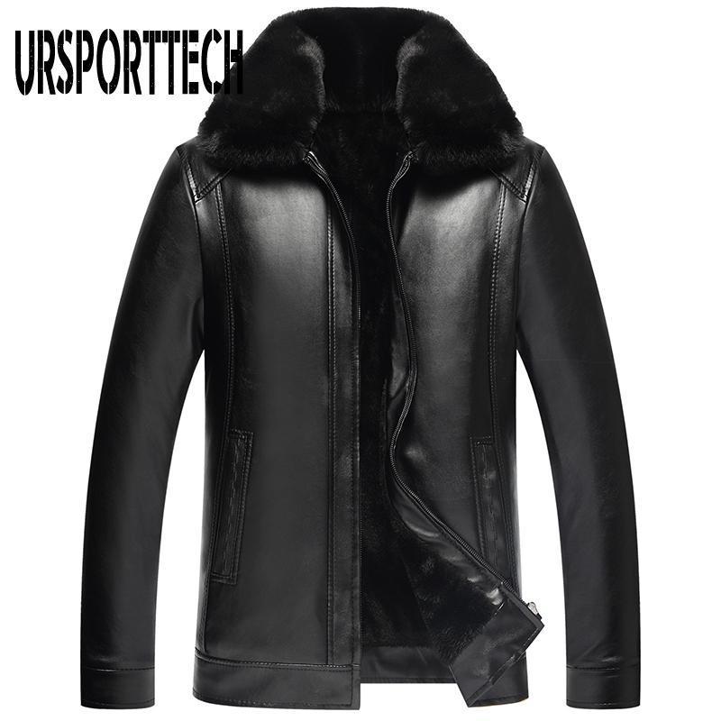 Herrenfell-Faux 2021 Mode PU-Lederjacke Herren Markenkleidung Thermal Oberbekleidung Winter männlich plus Samtgröße 4XL