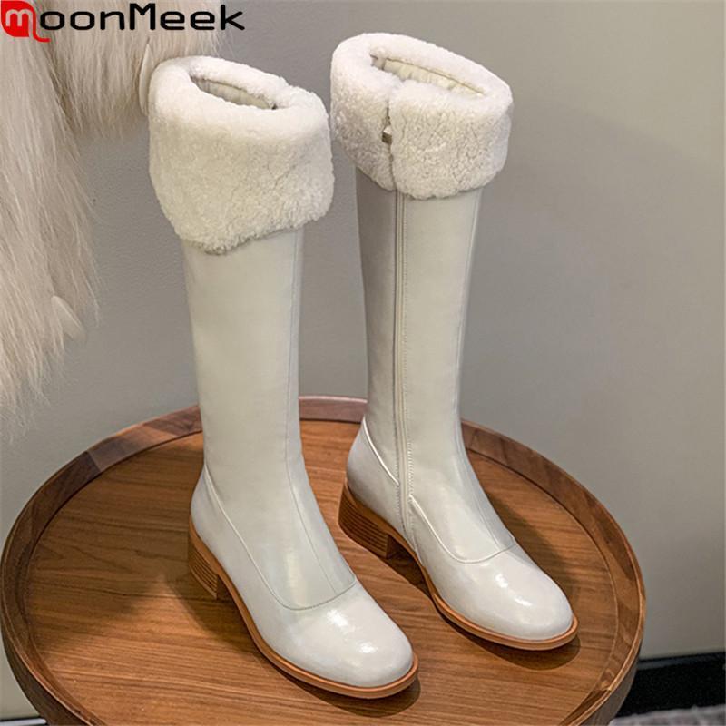MoonMeek 2021 New Hot Sale Женщины Сапоги из натуральной кожи сапоги Med Каблуки площади Toe Solid Color Knee High Черный Коричневый