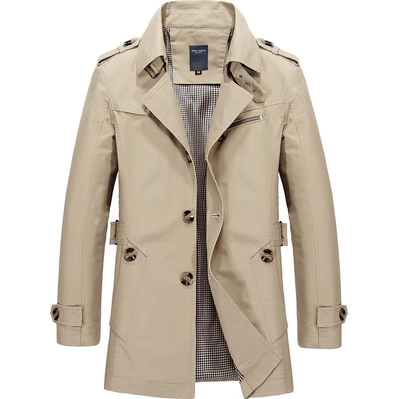 Erkekler Orta Boy WINDBREAKER ilkbahar ve sonbahar için Ceket Pamuk Casual Katı Coat