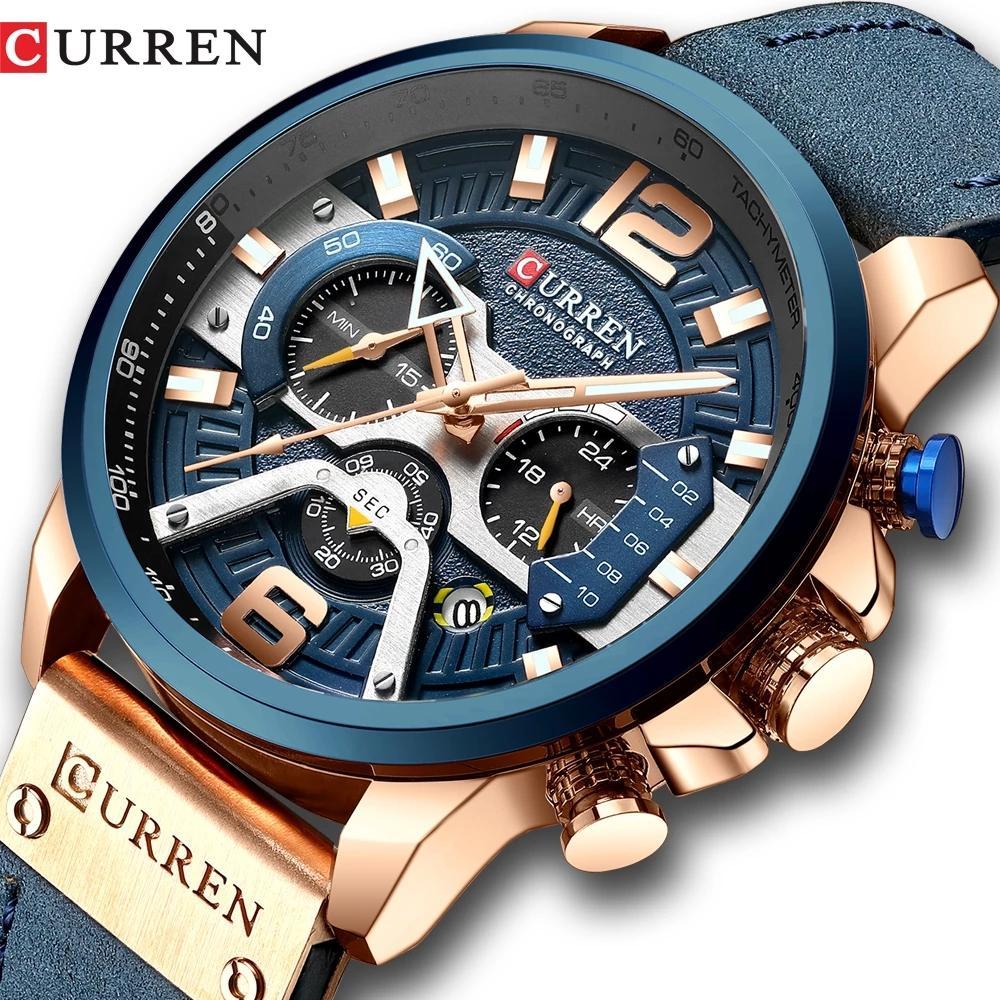 Curren Casual Spor Saatler Erkekler Için Mavi Üst Marka Lüks Askeri Deri Bilek İzle Adam Saat Kuvars Moda Chronograph Kol Saati