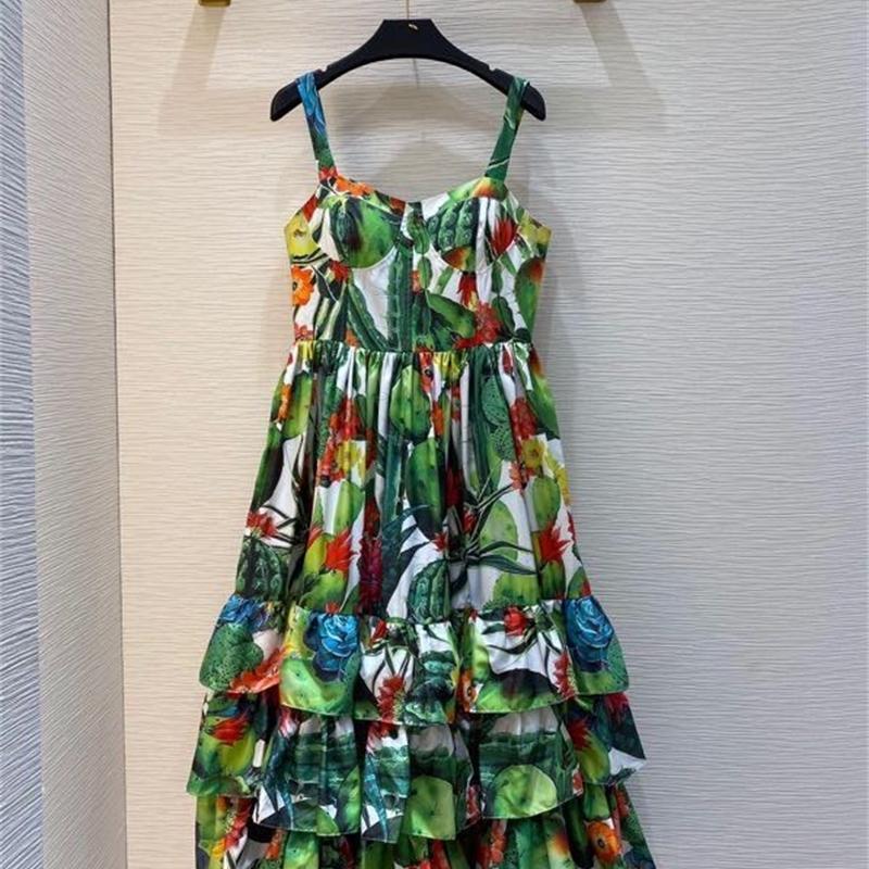 2021 Мода Лето Новые Женщины Ремешок Беззакомистая Империя Империя Одели Одетые MIDI Green Parours Rdah