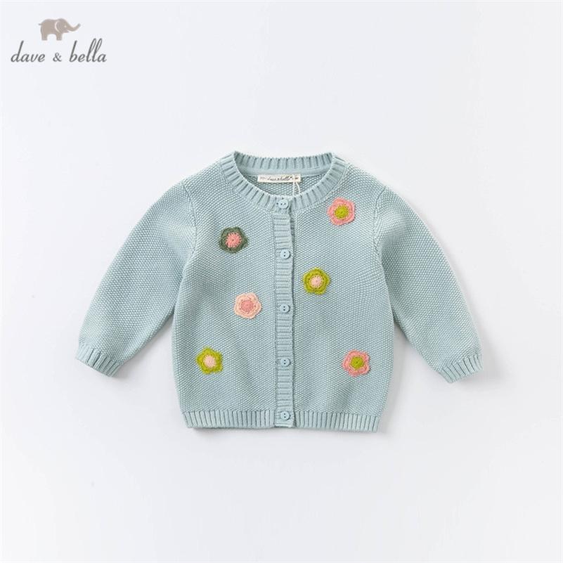 Dbz14795 dave bella otoño bebé niñas moda moda apliques floral cardigan niños niño abrigo niños lindo suéter de punto lj201007