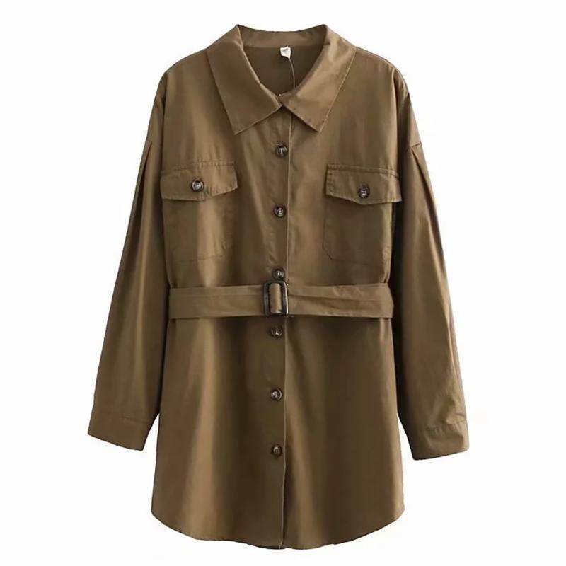 Women Coat Long Sleeve Lapel Neck Fashion With Waist Belt Casual Autumn Winter Streetwear Single Breasted Solid Pocket Elegant