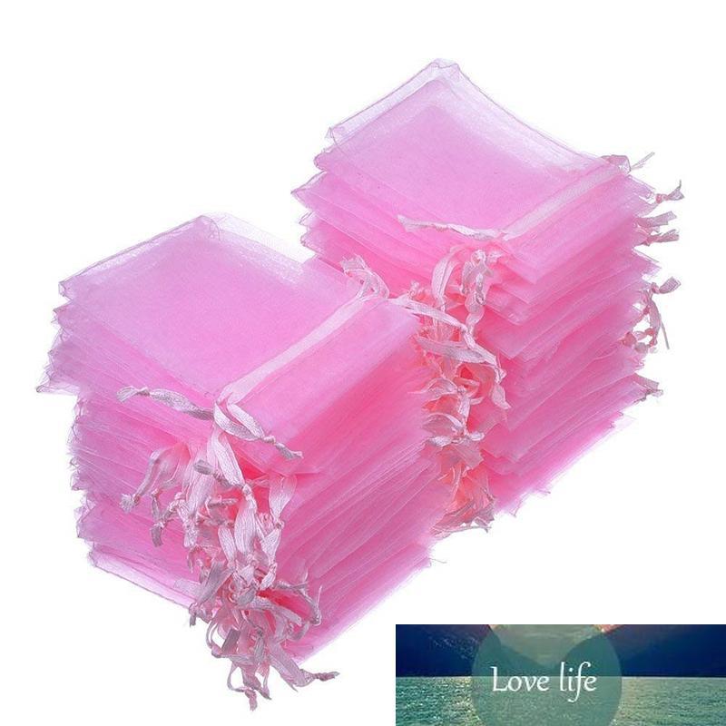 100 pièces 7x9 9x12 10x15 13x18 17x23cm sac organza rose décoration de mariage sachet pullable sac cadeau 88