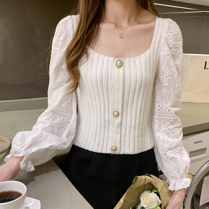 D1ypw woman autumn new version Korean versatile slim Top Sweater slim square collar bottoming Sleeve Sweater Top Long 2020 wy0iG